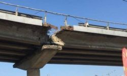 "To repair: In Kiev, near the metro station Vydubychi ""collapsed"" part of the overpass"