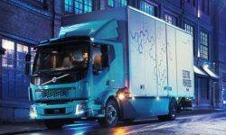 The Volvo electric truck can go up to 300 km on a single charge