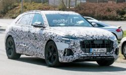 Audi has started to test a sport version of its flagship crossover Q8