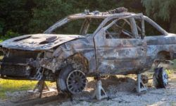"Ken Block showed what remained of the rally ""Ford"" after the accident"