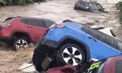 Elements washed into the river a dozen cars