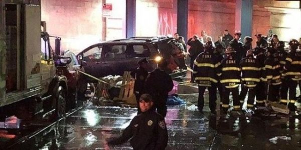 In new York, the car drove into a crowd of pedestrians.