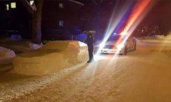 """The loonie received a """"fine"""" from the police for fashioned of snow car"""