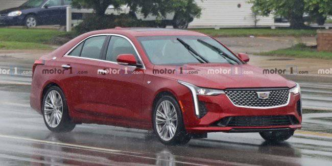 Small sedan Cadillac CT4 photographed without camouflage