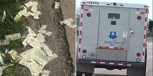 Drivers on the route were covered with money that has lost collectors