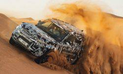 Experts of the red cross are testing protopapa new Land Rover Defender in desert