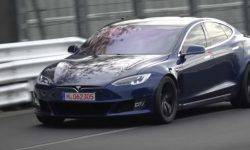 Testing Tesla updated the Model S sedan