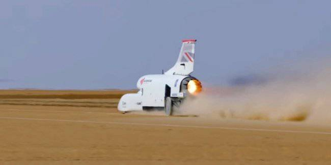 Supersonic car clocked up 800 km/h during the tests