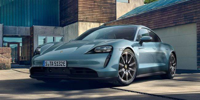 New Taycan 4S from Porsche is shown at the auto show in Los Angeles