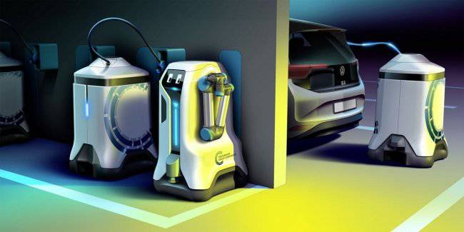 Volkswagen has created a robot to recharge the electric cars