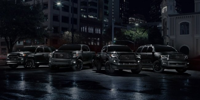 Toyota showed at the Chicago black Tacoma, Tundra and Sequoia