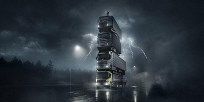 Volvo has built a tower of 4 new trucks
