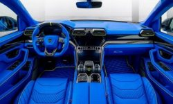 Interior Lamborghini Urus floor-to-ceiling sheathed in blue skin