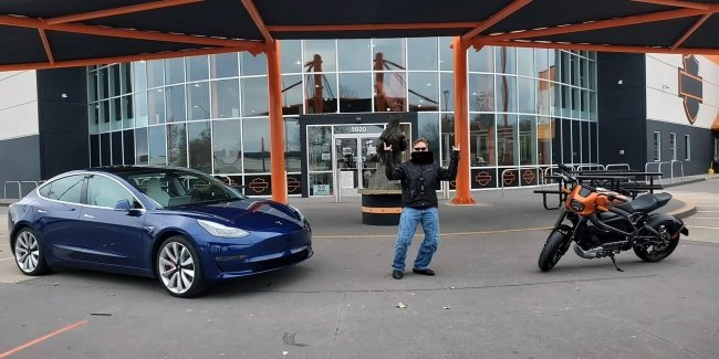Elektro Harley twice beat the Tesla Model 3 (video)