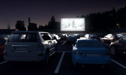 Movie instead of a football stadium turned into a drive-in theater