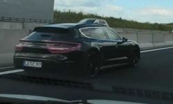 Cross-version of the Porsche Taycan caught on video
