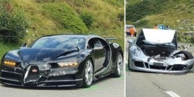 Typical accidents in Switzerland: a super expensive Bugatti collided with a Porsche is just expensive