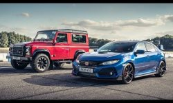 Honda Civc Type R vs Land Rover Defender Works V8: Drag Races