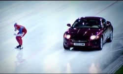 Speed Skater Vs Jaguar XK on Ice! Winter Olympics