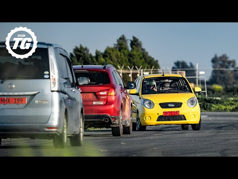 Chris Harris laps a Kia Picanto the wrong way around a race track: Series 29