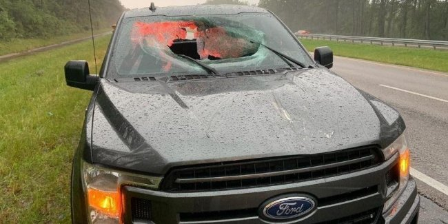 How a lightning strike pierced a Ford F-150 pickup truck (pictured)