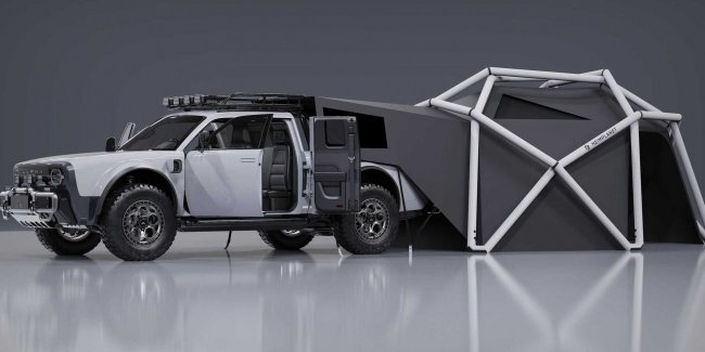 Wolf pickup truck and his tent to conquer Everest