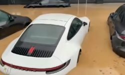 What does a Porsche car dealership look like after a flood (video)
