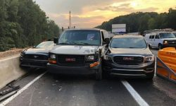 Three cars tried to exit the highway at the same time. It didn't work out for anyone