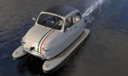 Fiat 500 turned into a boat